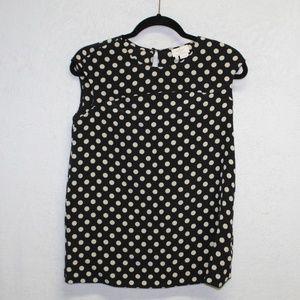 Kate Spade black polka dot cap sleeve silk top S
